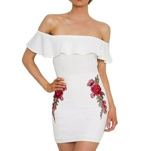 NWT - White Bodycon Off the shoulder Dress
